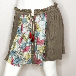 Free People Floral Frayed Hem Mini Skirt